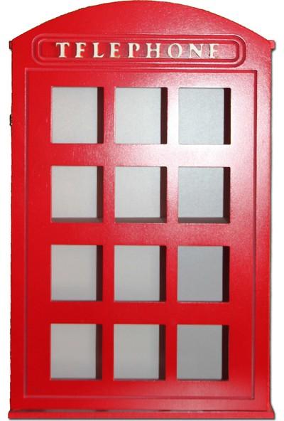Ahşap Kapısı Dekoratif Ahşap Telefon Kulübesi Rafı