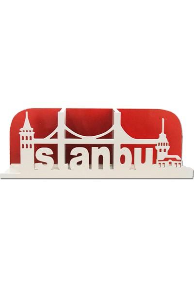 Ahşap Kapısı Ahşap İstanbul Desenli Kitaplık