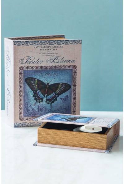 Arma House Mavi Kelebekli Kitap Şeklinde 2'li Kutu