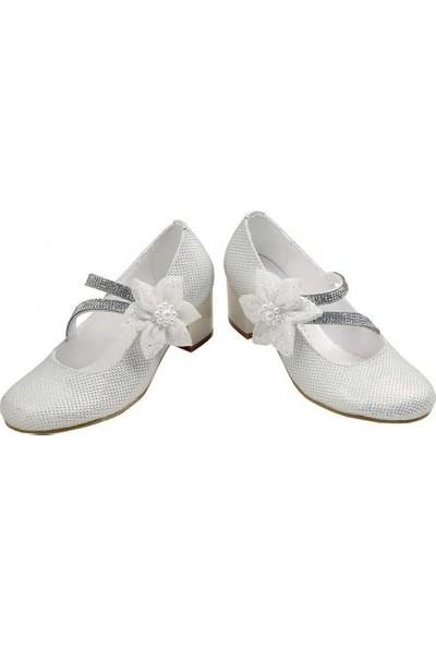 Kaptan Junior 26-30 Numara Abiye Topuklu Çocuk Ayakkabıları Pssk 405 Krem