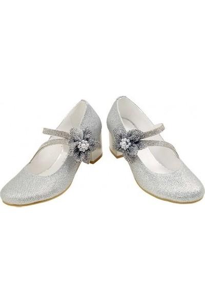 Kaptan Junior 26-30 Numara Abiye Topuklu Çocuk Ayakkabıları Pssk 405 Gümüş