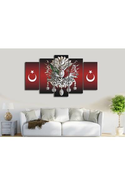 Dekorme Osmanlı Ayyıldız 5 Parçalı Kanvas Tablo