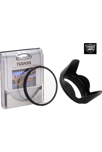 Canon 4000d - 18-55mm Lens için Uv Filtre + Yaprak Parasoley - Tianya
