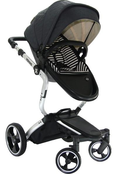 Yoyko Innovation 3in1 Travel Sistem Bebek Arabası Siyah Silver Kapitoneli