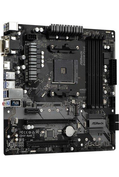Asrock B450M Pro4 AMD B450 3200MHz+ (OC) DDR4 Socket AM4 mATX Anakart ASRB450M-PRO4
