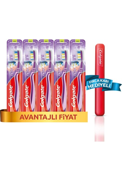 Colgate Zig Zag Diş Fırçası Orta x 5 Adet + Fırça Kabı Hediye