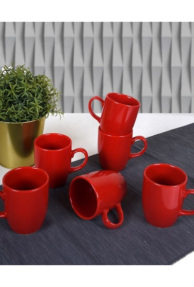 Keramika Bayrak Kırmızı Bulut Kupa 9 Cm 6 Adet