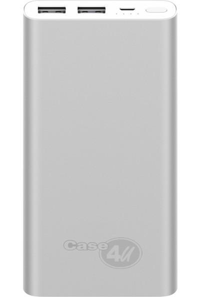 Case 4U 10000 mAh - Versiyon 3 - İnce ve Hafif Kasa Taşınabilir Şarj Cihazı Powerbank - 2 Çıkış Portlu - Gümüş