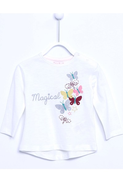 Silversun Bebek Kız Örme Baskılı T-Shirt BK 110393