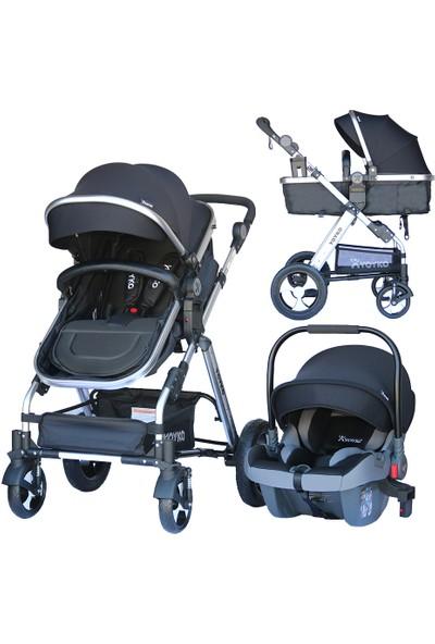 Yoyko Luxury Seyahat Sistem Bebek Arabası 3 İn 1 Siyah Silver