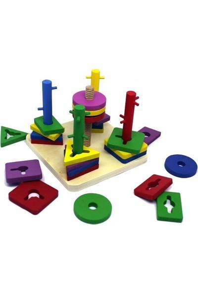 Serenad Toys Beşli Geometri Vidalama - Sertifikalı Ahşap Oyuncak