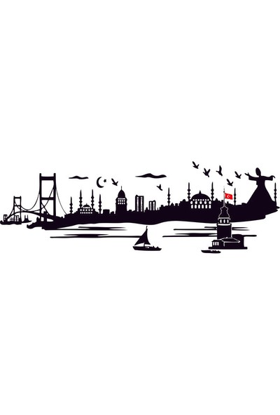 Kirpi Baskı Merkezi Duvar Sticker İstanbul Silüeti