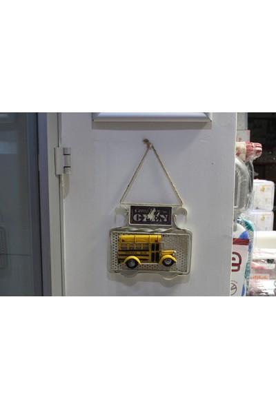 Mnk School Bus Metal Open + Arkası Resim Çerçevesi Kapı Yazısı 1510E5474