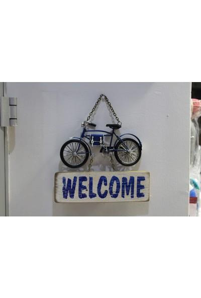 Mnk Metal 3D Mavi Bisiklet Welcome Kapı Yazısı 1510A8263
