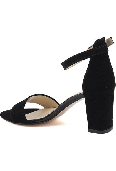 Ayakland Bsm 62 Siyah 7 Cm Topuk Kadın Nubuk Sandalet Ayakkabı