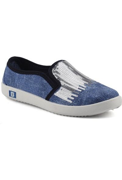 My Almira 121 Mavi Günlük Pullu Keten Kadın Bez Ayakkabı