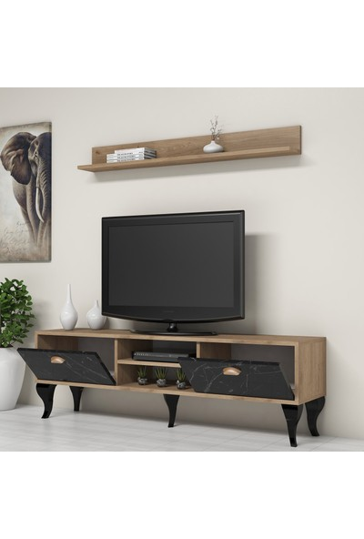 Bimossa C1810 Tv Ünitesi Duvar Raflı Modern Tv Sehpası Mermer Ceviz
