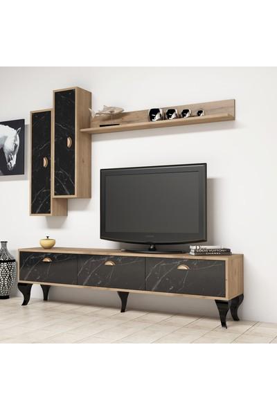 Bimossa E2810 TV Ünitesi Duvar Raflı Dolaplı Modern Tv Sehpası Mermer Ceviz