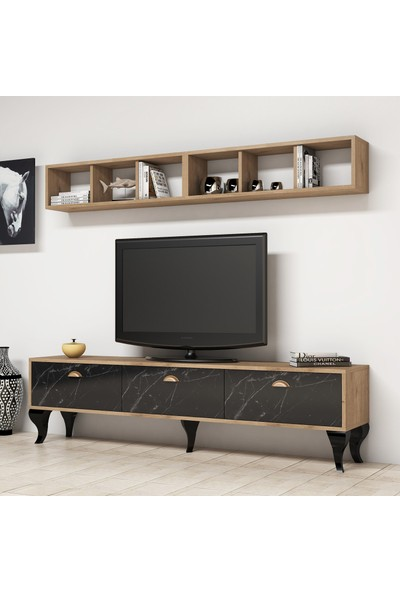Bimossa E2720 TV Ünitesi Kitaplıklı Modern Tv Sehpası Mermer Ceviz