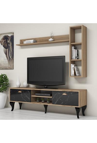 Bimossa C1710 TV Ünitesi Duvar Raflı Kitaplıklı Modern Tv Sehpası Mermer Ceviz