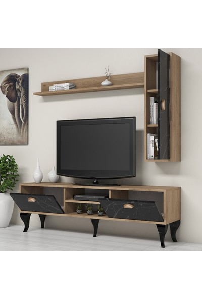 Bimossa C1610 TV Ünitesi Duvar Raflı Dolaplı Modern Tv Sehpası Mermer Ceviz