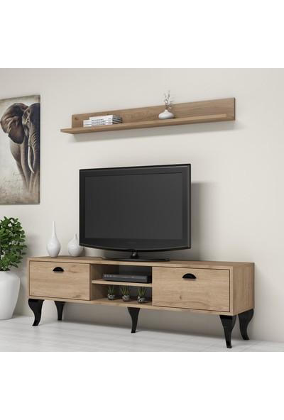 Bimossa C1820 Tv Ünitesi Duvar Raflı Modern Tv Sehpası Ceviz
