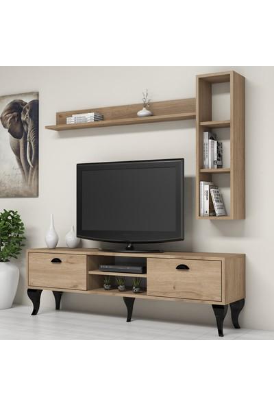 Bimossa C1720 TV Ünitesi Duvar Raflı Kitaplıklı Modern Tv Sehpası Ceviz