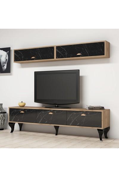 Bimossa E2710 TV Ünitesi Dolaplı Kitaplık Modern Tv Sehpası Mermer Ceviz