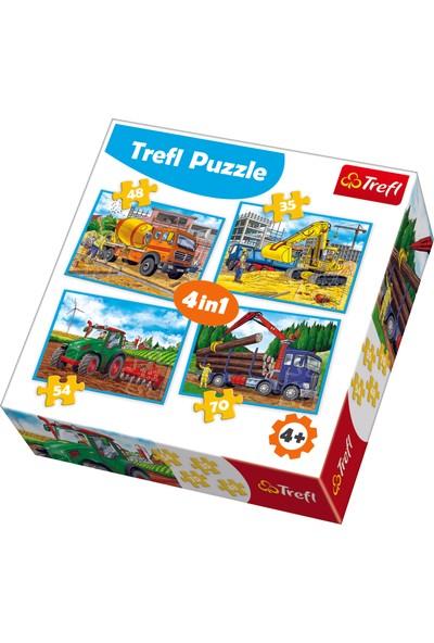 Trefl Puzzle Large Construction Machines 35+48+54+70 Parça 4 İn 1 Puzzle