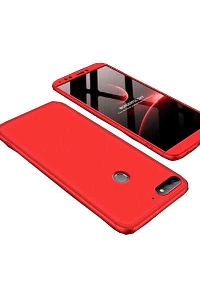 CoverZone Huawei Y7 2018 Kılıf 3 Parça 360 Soft Hard Koruma Kırmızı + Nano Glass Nano Ekran Koruma - AYS90