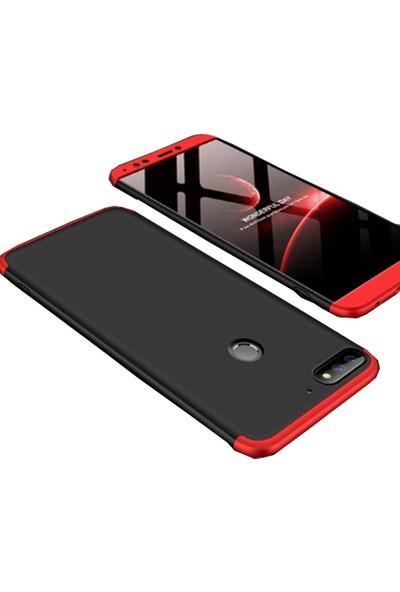 CoverZone Huawei Y7 2018 Kılıf 3 Parça 360 Soft Hard Koruma Siyah - Kırmızı + Nano Glass Nano Ekran Koruma - AYS90