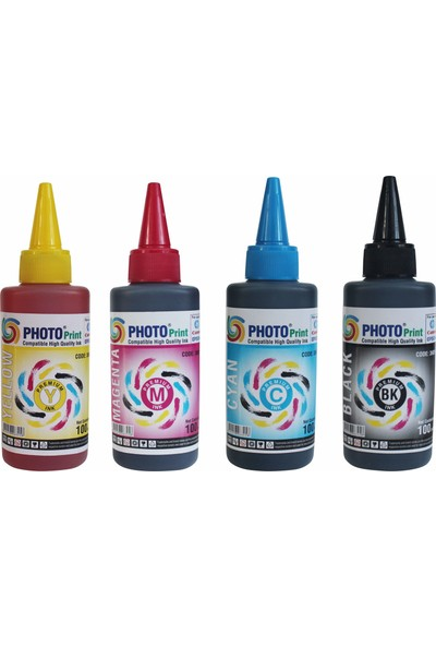 Photo Print Epson Bitmeyen Kartuş Tüm Modellere Uyumlu 4 Renk 100 ml Japon Mürekkep Seti
