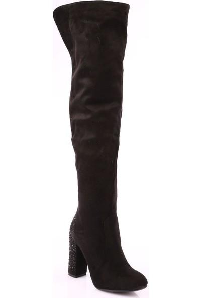 Guja 18K222 Kadın Thigh High Arkası Taşlı Topuklu Çizme Siyah Süet