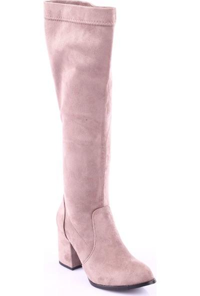 Dgn 225 Kadın Yuvarlak Burun Knee High Stretch Çorap Çizme Vizon Süet