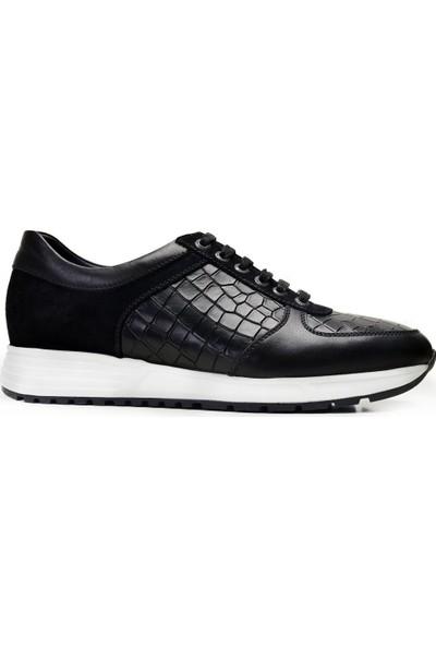 Nevzat Onay Bağcıklı Siyah Günlük Deri Erkek Ayakkabı