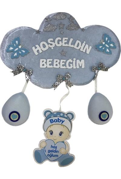 Balonpark 1 Adet Mavi Hoşgeldin Bebeğim Kapı Süsü Hediye