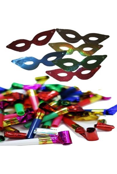Balonpark 12 Adet Parti Gözlüğü Karton + 12 Adet Üflemeli Parti Düdüğü Ucuz