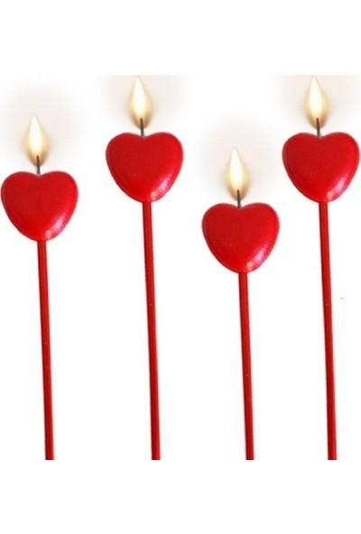 Balonpark 4 Adet Kırmızı Uzun Çubuklu Kalpli Pasta Mumu