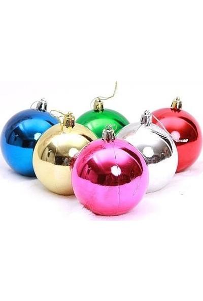 Balonpark 6 Adet Karışık Renk 8cm Büyük Yılbaşı Çam Ağacı Topları Süsleri