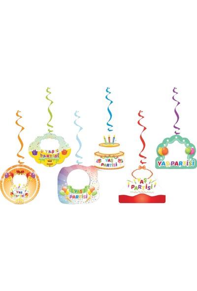 Balonpark Renkli 6lı Yaş Partisi Yay Set Asma Tavan Tepe Sarkıt Süsü