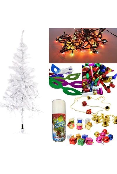 Balonpark Yılbaşı Çam Ağacı 180 cm + 25 Renkli Süs + Led ışığı + Kar Spreyi