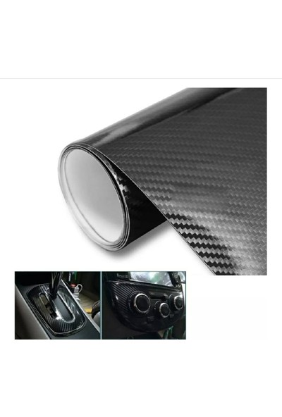 Carbins Parlak Siyah 5D Karbon Fiber Folyo ( Boyut:30Cm X 152Cm)