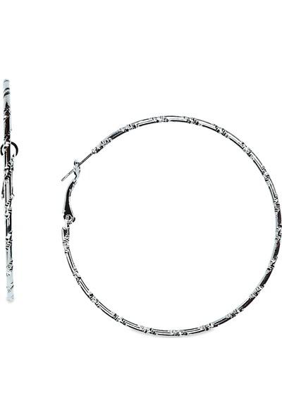 E-Brands Gümüş Renkli Kadın Desenli Halka Küpe No:3