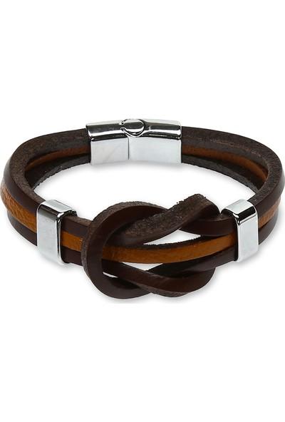 E-Brands Kahverengi - Taba Hakiki Deri Alaçatı Düğümlü Çelik Aksesuarlı Erkek Bileklik