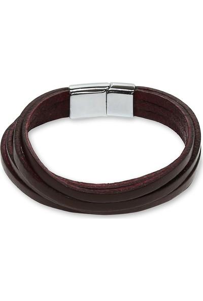 E-Brands Kahverengi Hakiki Deri Çelik Aksesuarlı Erkek Bileklik