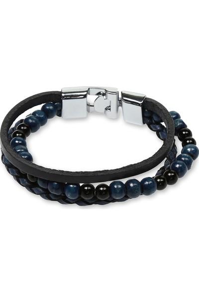 E-Brands Mavi-Siyah Hakiki Deri Örgü Detaylı Boncuklu Çelik Aksesuarlı Erkek Bileklik