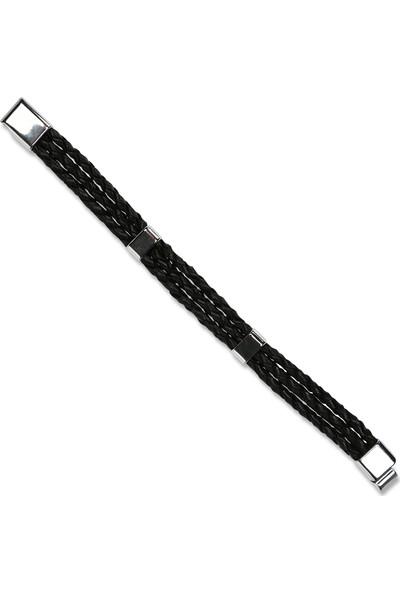 E-Brands ZT0092 Siyah Hakiki Deri Örgü Detaylı Çelik Aksesuarlı Erkek Bileklik