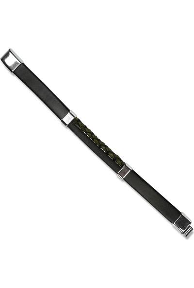 E-Brands Siyah-Yeşil Hakiki Deri Örgü Detaylı Çelik Aksesuarlı Erkek Bileklik