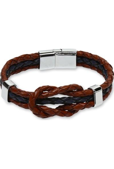 E-Brands Taba-Lacivert Hakiki Deri Alaçatı Düğümlü Örgü Detaylı Çelik Aksesuarlı Erkek Bileklik