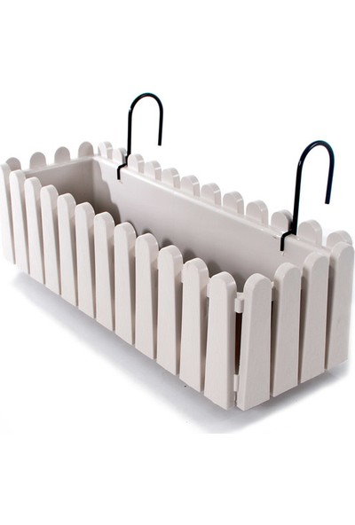 Serinova - Askılı Balkon Saksı Kirli Beyaz 9 Litre Askı Aparatlı